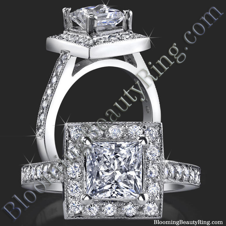 Low Set Princess Cut Diamond Halo Ring with Round Pave Diamonds - bbr399