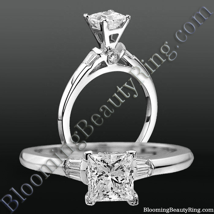 Modified Cathedral Bezel Set Engagement Ring with Peekaboo Diamonds - nw8713