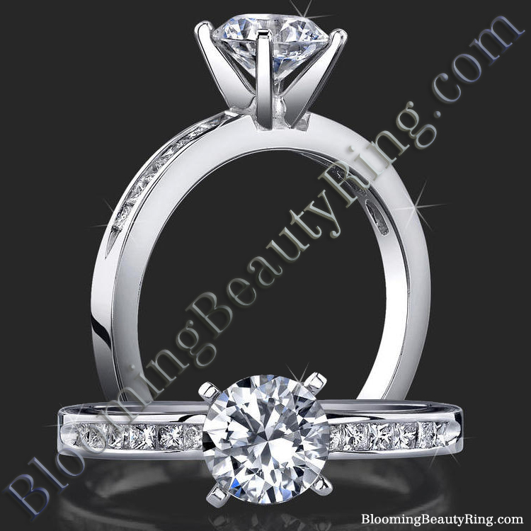 Petite 4 Prong Round Setting Channel Set Princess Cut Diamonds - bbr151