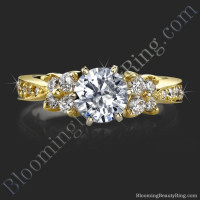 Petite Cluster Tapered 6 Prong Engagement Ring Setting