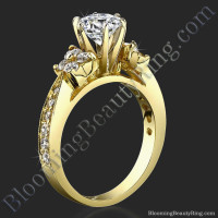 Petite Graduated 4 Diamond Cluster Tapered 6 Prong Engagement Ring Setting