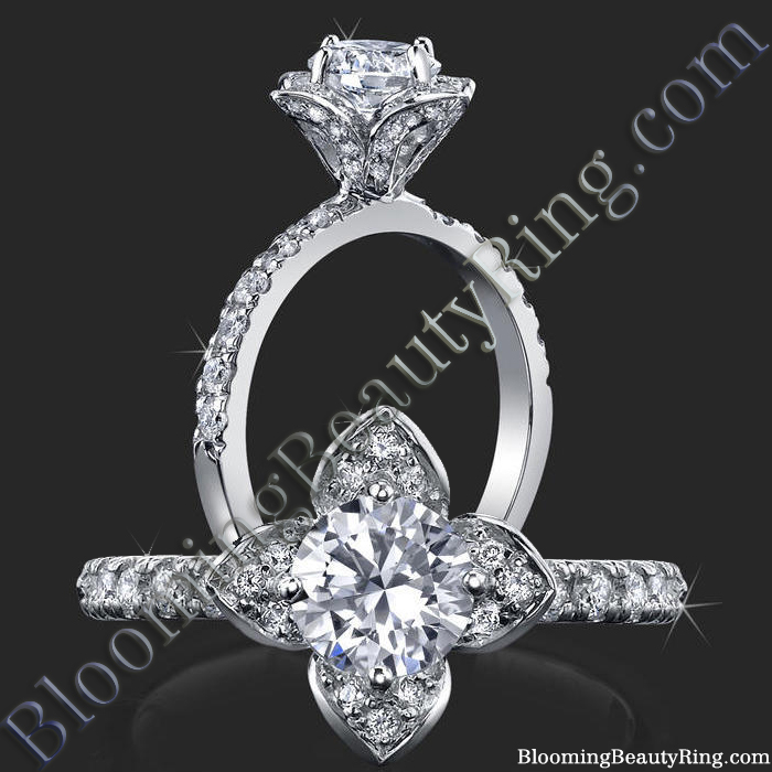 Petite Tulip Style Flower Ring Paved with Encrusted Diamonds - bbr2531