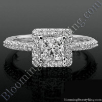 Princess Halo with Shared Pronged Round Diamonds Low Profile Engagement Ring