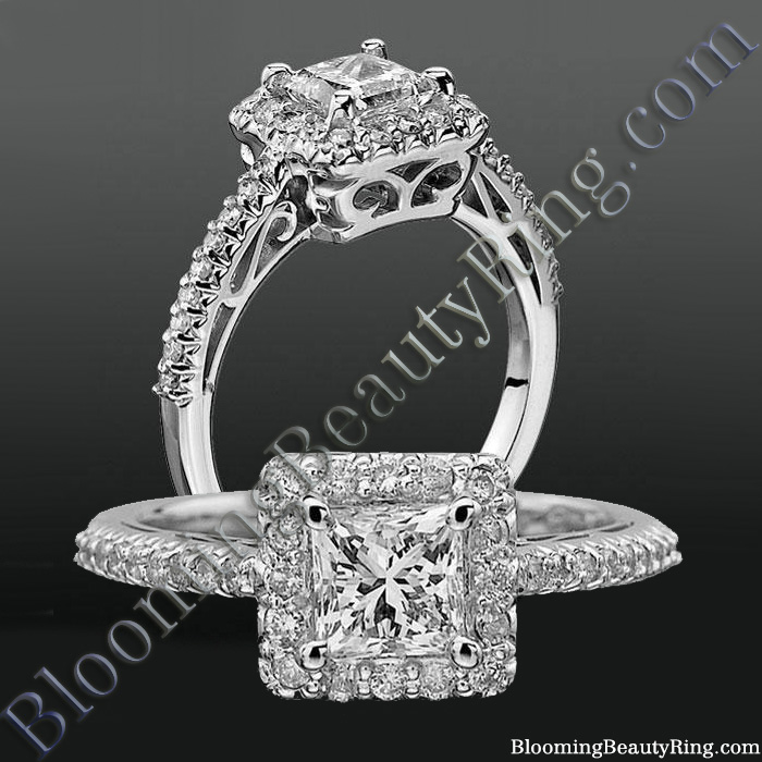 Princess Halo with Shared Pronged Round Diamonds Low Profile Setting - bbrnw6005