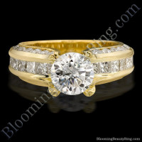 Round and Princess Channel Set Curved 4 Prong Diamond Engagement Ring - bbr393