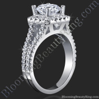 Round Diamond Square Halo Split Engagement Ring