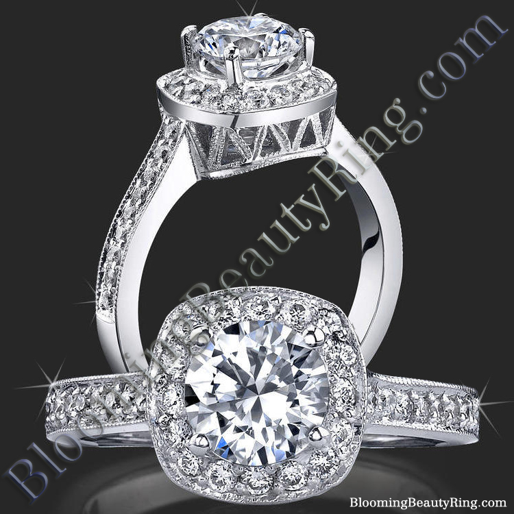 Round Halo Ring with Micropave Diamonds and Mill Grain Edges - bbr420