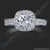 Round Halo Engagement Ring with Micropave Diamonds and Mill Grain Edges