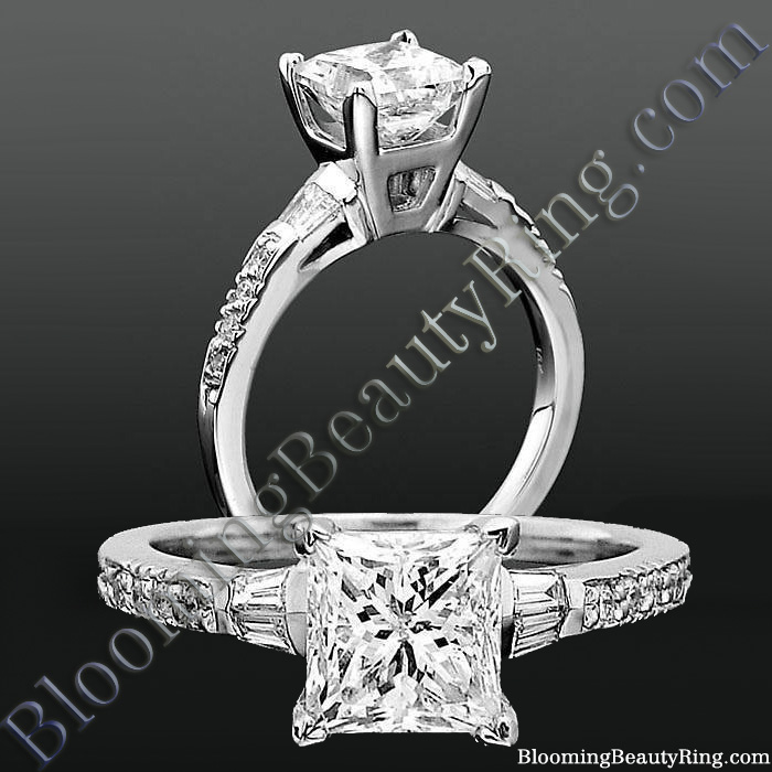 Round Pave and Channel Set Baguette Diamond Engagement Ring - bbrnw2210