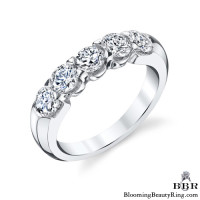 Tiffany Style 9 Large Stone Diamond Engagement Ring Set - 1