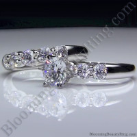 Tiffany Style 9 Large Stone Diamond Engagement Ring Set -3