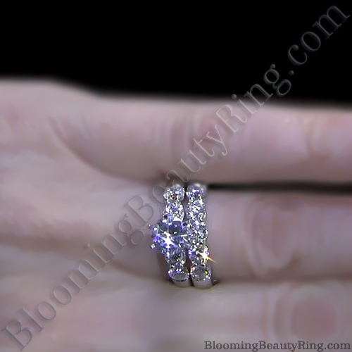 tiffany style 9 large stone diamond engagement ring set on the finger - Large Wedding Rings