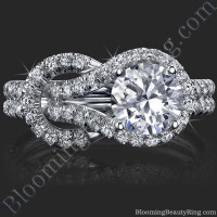 Two Interlaced Split Loop Diamond Engagement Ring - 2