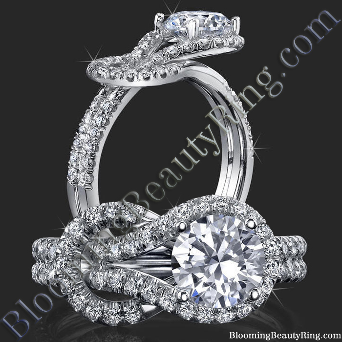 Two Interlaced Split Loop Diamond Engagement Ring - bbr512