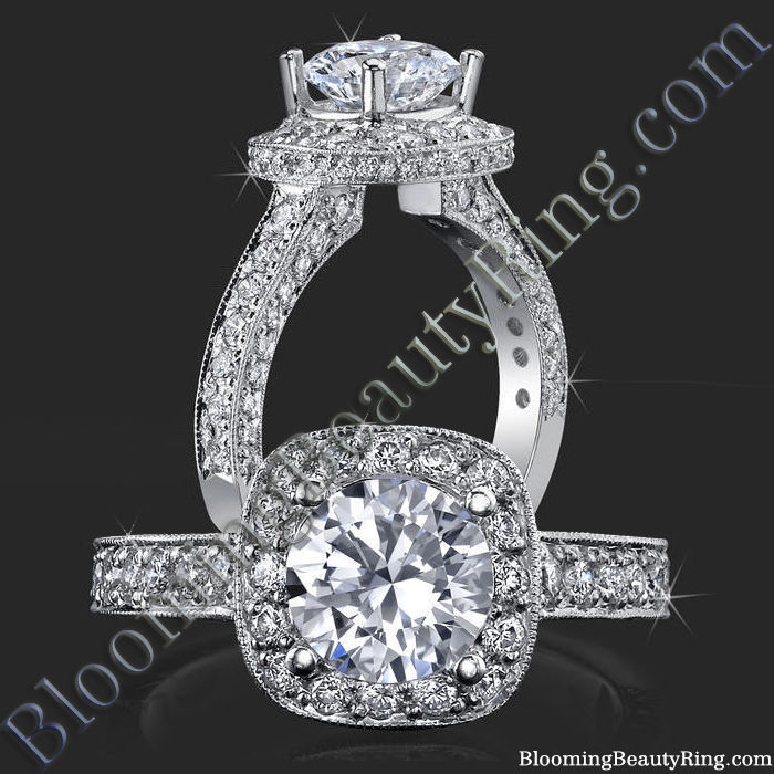 Unique Slant Top Diamond Halo Engagement Ring - bbr441