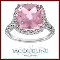 18k White Gold Kunzite and Diamond Double Halo Ring