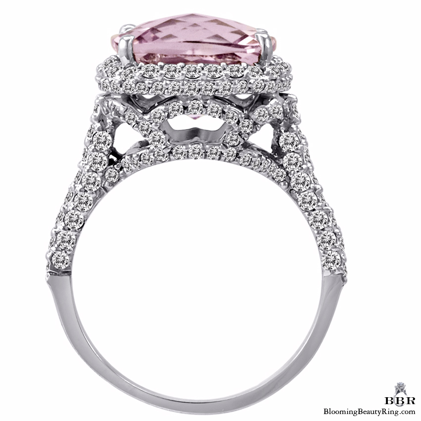 18k White Gold Kunzite and Diamond Double Halo Ring - jtr175
