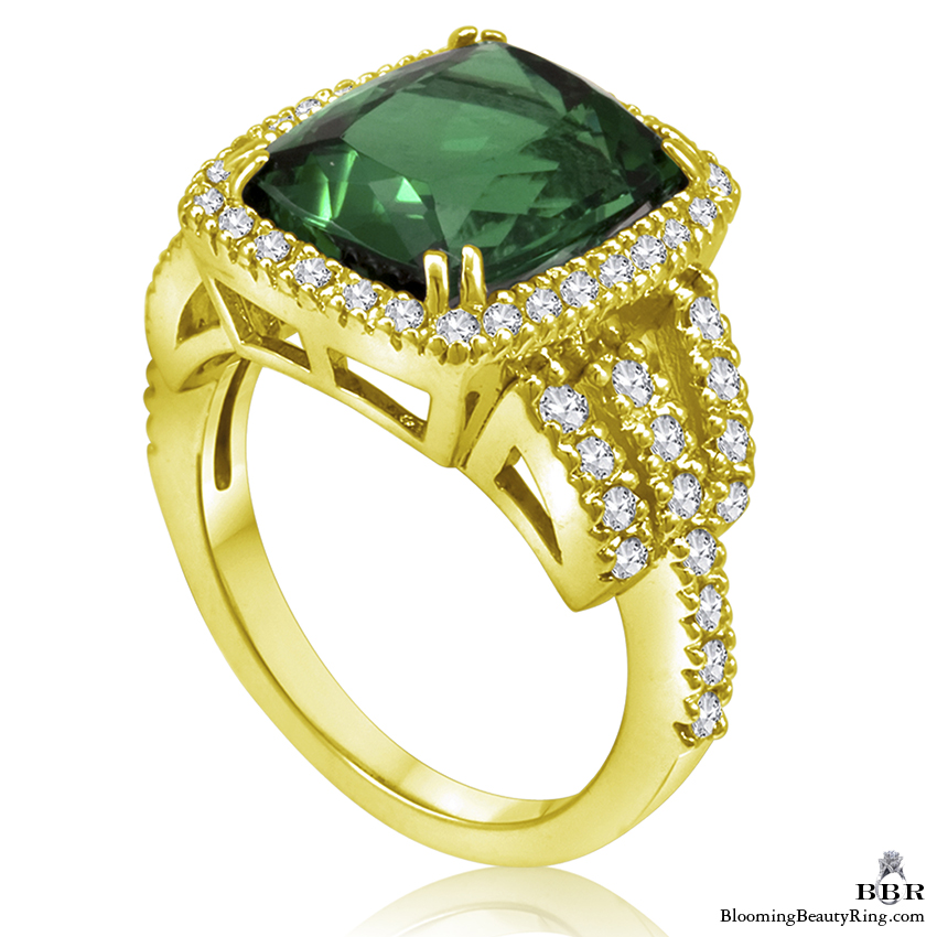 18k Yellow Gold Fine African Green Tourmaline and Diamond Ring