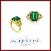 18k Yellow Gold Fine African Green Tourmaline Diamond Ring
