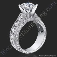 2.10 Carat Round Diamond Engraved Engagement Ring with Huge Quarter Carat Channel Set Diamonds