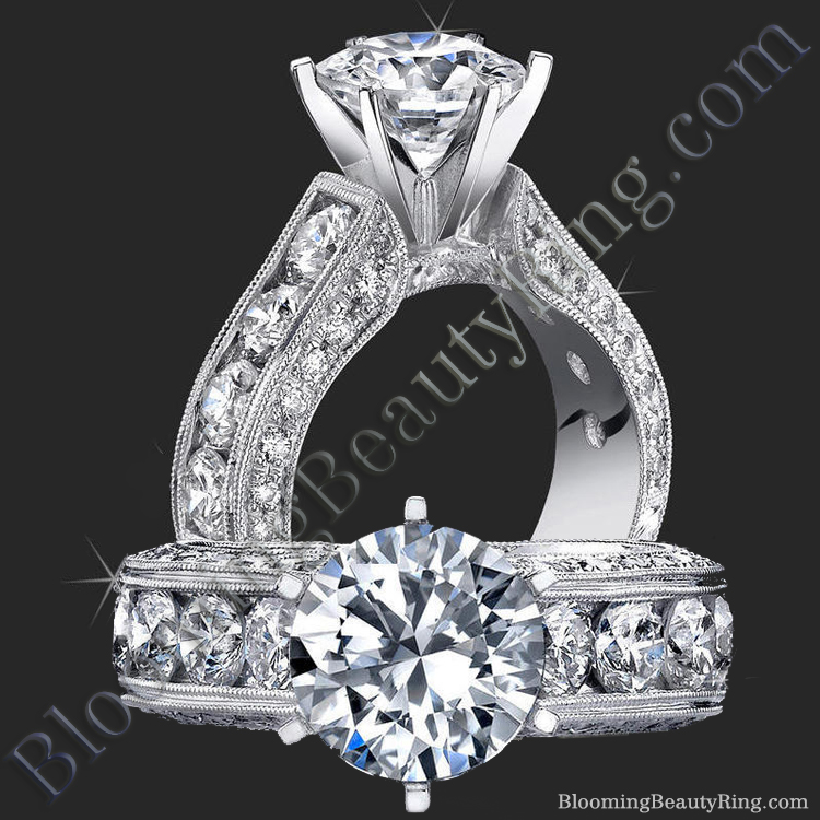 2.10 Carat Round Diamond Engraved Engagement Ring with Huge Quarter Carat Channel Set Diamonds - bbr389