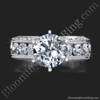 2.10 Carat Round Diamond Engraved Engagement Ring with Quarter Carat Channel Set Diamonds