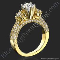 6 Prong Multi Shaped Graduated Diamond Engagement Ring