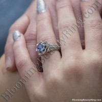 bright blue sapphire rose diamond engagement ring