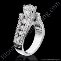 Diamonds On The Tips Modified 6 Prong Cathedral Split Band Princess Cut Ring