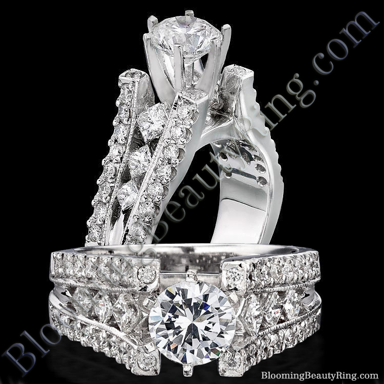 Diamonds On The Tips Modified 6 Prong Cathedral Split Band Princess Cut Ring - bbr1165