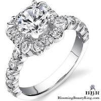 Fully Bloomed Flower Halo Tension Bezel Ring
