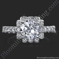 Fully Bloomed Flower Halo Tension Bezel Ring - bbr462e