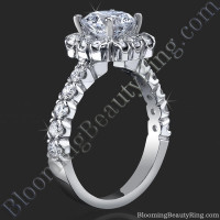 Fully Bloomed Flower Halo Tension Bezel Ring with Very Large Diamonds