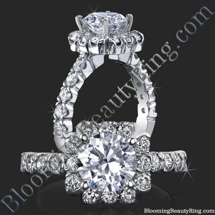 Fully Bloomed Flower Halo Tension Bezel Ring with Very Large Diamonds - bbr462e