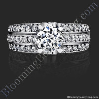 Pave Center Band with Connecting Round Bar Diamond Engagement Ring - bbr6360