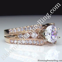 pink gold engagement ring with a split shank