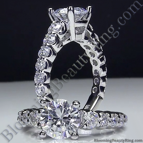 Shared Prong Antique Style Engagement Ring with Large Graduated Diamonds - bbr593