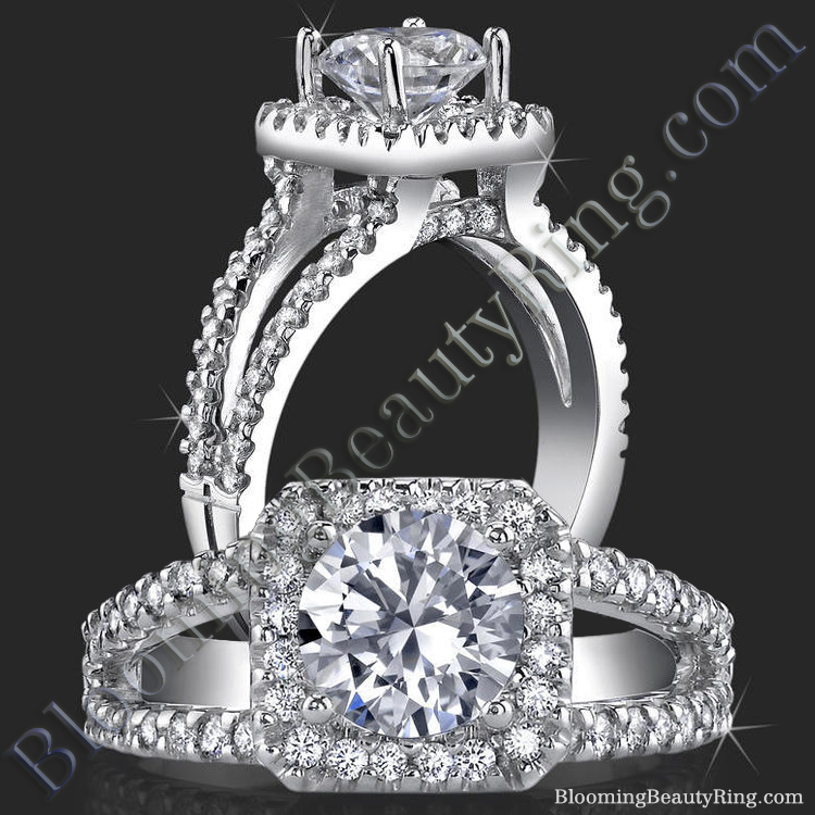 Square Halo Split Shank 62 Diamond Micro Pave Set Engagement Ring - bbr423