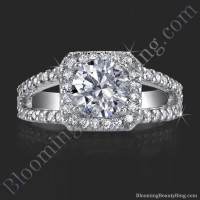 Square Halo Split Shank 62 Diamond Micro Pave Set Ring - bbr423