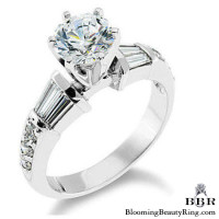 Tiffany Style Beveled Diamond Engagement Ring