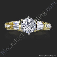 Tiffany Style Beveled Diamond Engagement Ring - bbr253