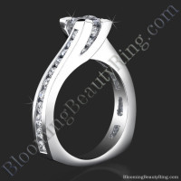 Unique Square Overlap Princess Ring with 28 Round Channel Set Diamonds
