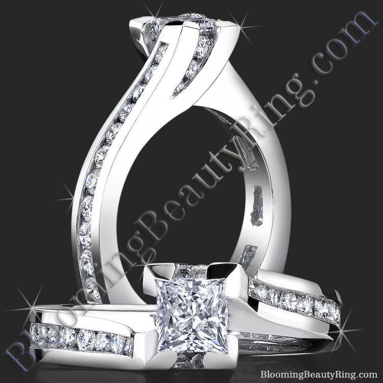 Unique Square Overlap Princess Ring with 28 Round Channel Set Diamonds - bbr432
