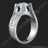 Wide Band Floating Diamond with Invisible Channel Set Princess Cut Diamonds