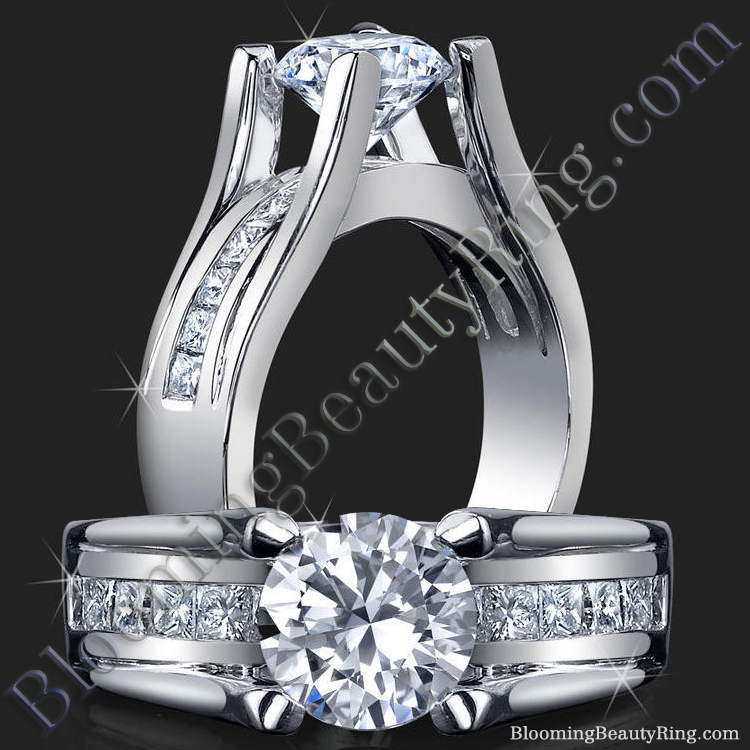 Wide Band Floating Diamond with Invisible Channel Set Princess Cut Diamonds - bbr159