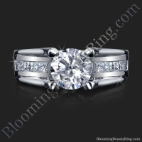 wide band with floating diamonds and invisible channel set princess cut diamonds