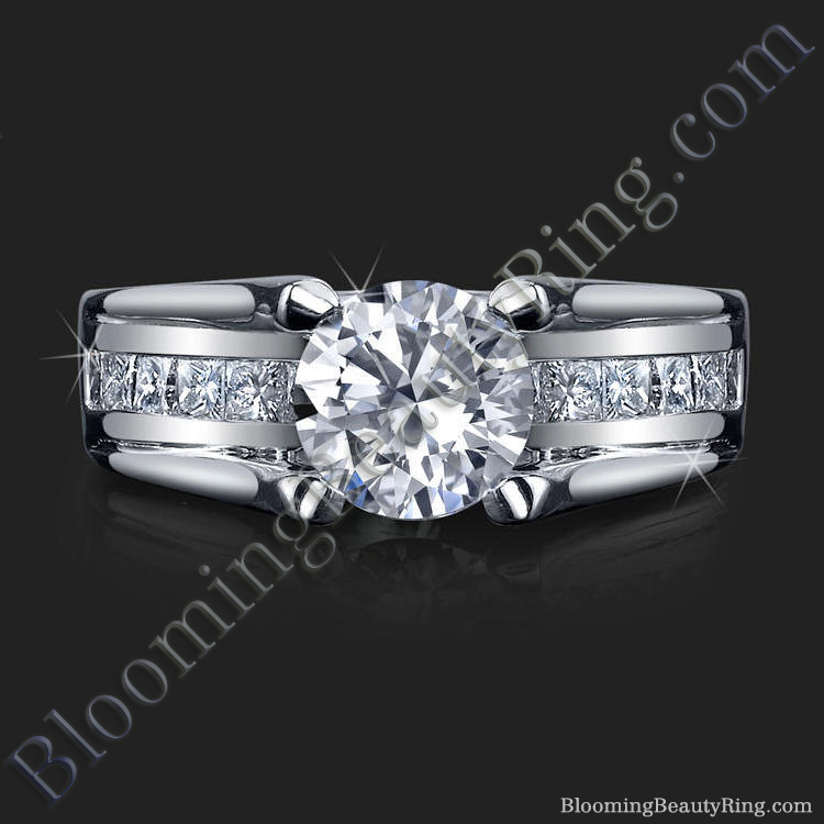 Wide Band Floating Diamond with Invisible Channel Set Princess Cut