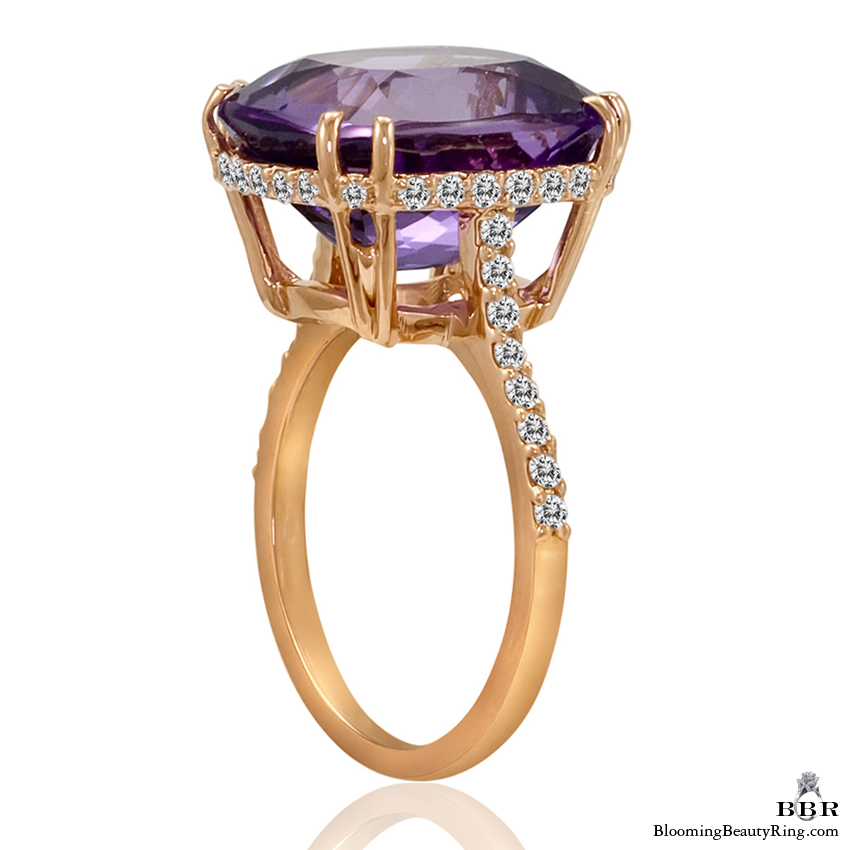 20k Rose Gold Rich Color 8.65 ct. Purple Rose Cut Amethyst Ring - jtr182
