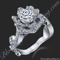 Lotus Flower Diamond Engagement Ring