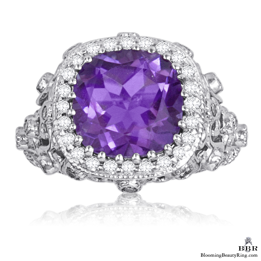 Antique Scroll Designed Purple Amethyst and Diamond Gemstone Ring - jtr193